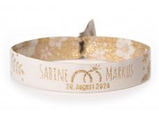 Woven bracelet for wedding - golden flowers